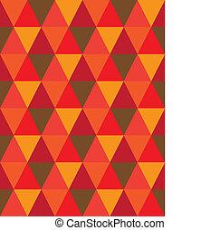 vektor, barna, csempeborítás, gyémánt, háromszög, &, shapes-, motívum, graphic., ismétlődő, ez, seamless, ábra, narancs, befest, elkészített, háttér, őt consists, geometriai, mózesi, piros