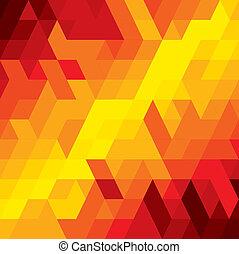 vektor, barna, derékszögben, gyémánt, színes, &, shapes-, elvont, ez, ábra, alakzat, narancs, befest, köb, különféle, háttér, őt consists, geometriai, graphic., piros