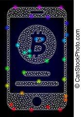 vektor, beszámoló, drót, színezett, mozgatható, fény, keret, bitcoin, bepiszkit, színkép, behálóz