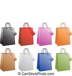 vektor, bevásárlás, színes, pantalló