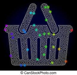 vektor, bevásárlás, színezett, fény, színkép, bepiszkit, 2, behálóz, kosár