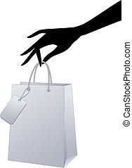 vektor, bevásárlószatyor, kéz