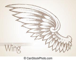 vektor, bevésett, szárny, választékos