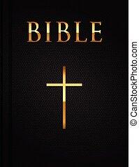 vektor, biblia, fedő, jámbor