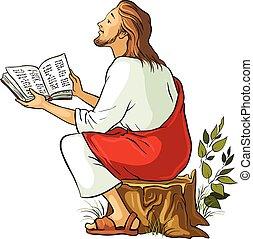 vektor, biblia, felolvasás, ábra, jézus