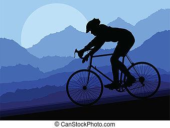 vektor, bicikli, bicikli, árnykép, sport, lovas, út