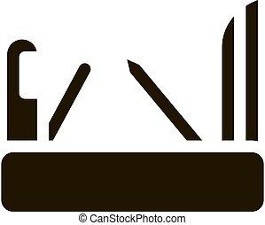 vektor, bicska, ábra, ikon, glyph