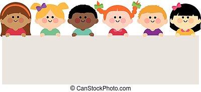 vektor, birtok, tiszta, csoport, gyerekek, banner., ábra