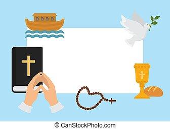 vektor, bizalom, rózsafüzér, dove., keresztény, hope., kezezés összehajt, keresztelő, kereszténység, jelkép, vallás, kereszt, biblia, god., emberi, könyörgés, motifs., felhívás, vallásos, illustration.