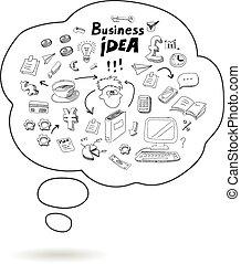 vektor, buborék, gondolat, szórakozottan firkálgat, ikon, elszigetelt, ügy, beszéd, infographics, ábra