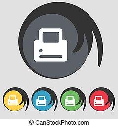 vektor, buttons., színezett, cégtábla., nyomtatás, öt, jelkép, ikon