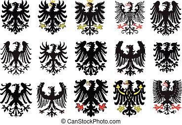 vektor, címertani, állhatatos, eagles., fekete, ábra