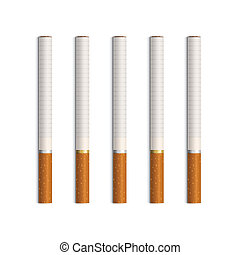 vektor, cigaretták, fehér, állhatatos, elszigetelt
