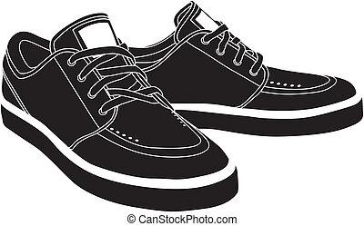 vektor, cipők, sport