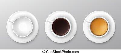 vektor, collection., osztályozás, csésze, kilátás, tető, kávécserje, ábra