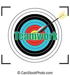 vektor, concept., szó, ügy, csapatmunka