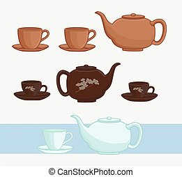 vektor, csészék, japán, teáskanna