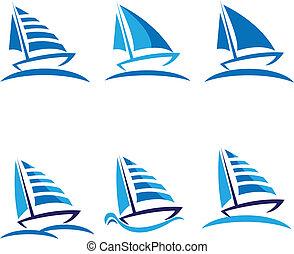 vektor, csónakázik, díszlet tervezés, jel