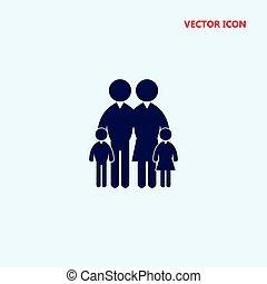 vektor, család, ikon