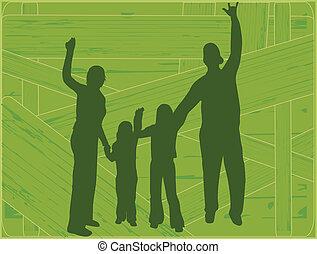 vektor, -, család, körvonal