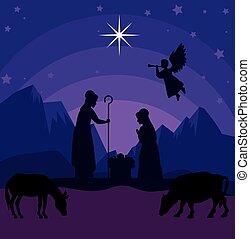 vektor, csecsemő, józsef, lidércek, tervezés, vidám christmas, mária, horoszkóp