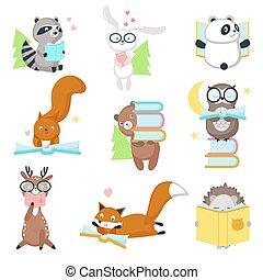 vektor, csinos, állhatatos, állatok, előjegyez, vad, felolvasás, ikon