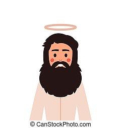 vektor, csinos, gyerekek, biblia, keresztény, krisztus, ábra, style., karikatúra, jézus