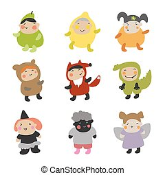 vektor, csinos, különböző, állhatatos, character., betű, ábra, gyerekek, kosztüm buli, style., kids.