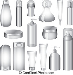 vektor, csomagolás, állhatatos, palack, kozmetikum