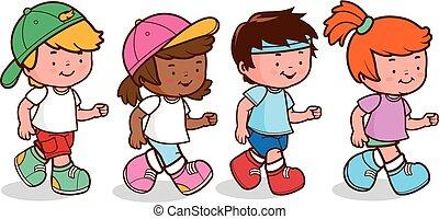 vektor, csoport, ábra, különböző, running., gyerekek