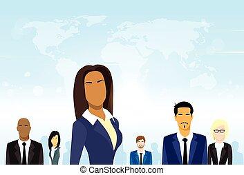 vektor, csoport, ügy emberek, különböző, sportcsapat vezető