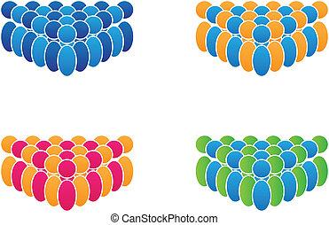 vektor, csoport, emberek