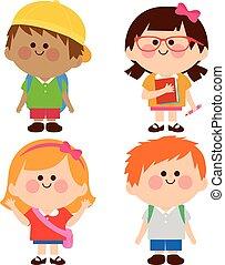 vektor, csoport, gyerekek, ábra, students.