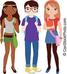 vektor, csoport, tizenéves, ábra, students.