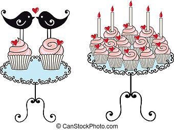 vektor, cupcakes, születésnap