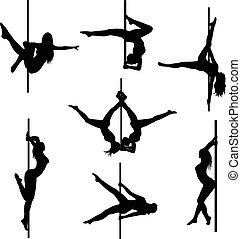 vektor, dancers., nők, állhatatos, szexi, körvonal, pole., lengyel