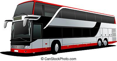 vektor, decker, coach., megkettőz, piros, bus., ábra, természetjáró