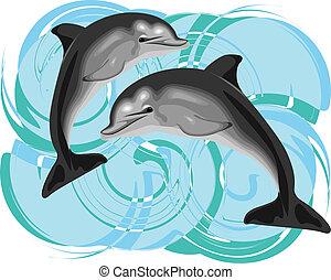 vektor, delfin, ábra