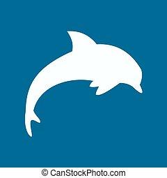 vektor, delfin, ikon