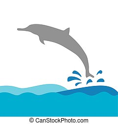 vektor, delfin, tenger, ábra, lenget