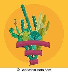 vektor, dezertál, bokor, berendezés, egzotikus, állhatatos, kaktusz, pálma, flowers.