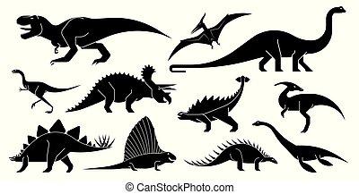 vektor, dinoszaurusz, icons., állhatatos, stilizált, mértanian