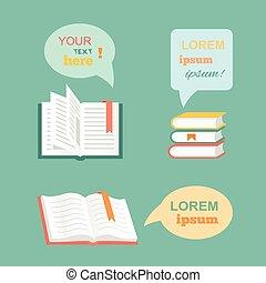 vektor, dolgozat, könyv, elhomályosul, nyílik, lakás, beszéd, irodalom, tervezés, style., panama