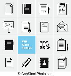 vektor, dolgozat, okmányok, ikon, notepad