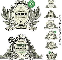 vektor, dollár, állhatatos, jel, keret, pénz