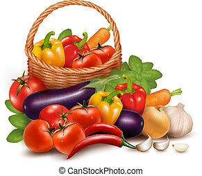 vektor, egészséges, növényi, ábra, táplálék., basket., háttér, friss