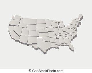vektor, egyesült államok, térkép, 3