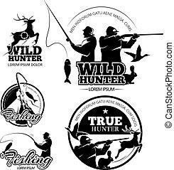 vektor, elnevezés, emblémák, halászat, szüret, jel, állhatatos, vadászat