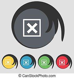 vektor, eltöröl, cégtábla., buttons., ikon, színezett, jelkép, öt