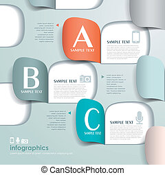 vektor, elvont, dolgozat, infographics, origami, 3